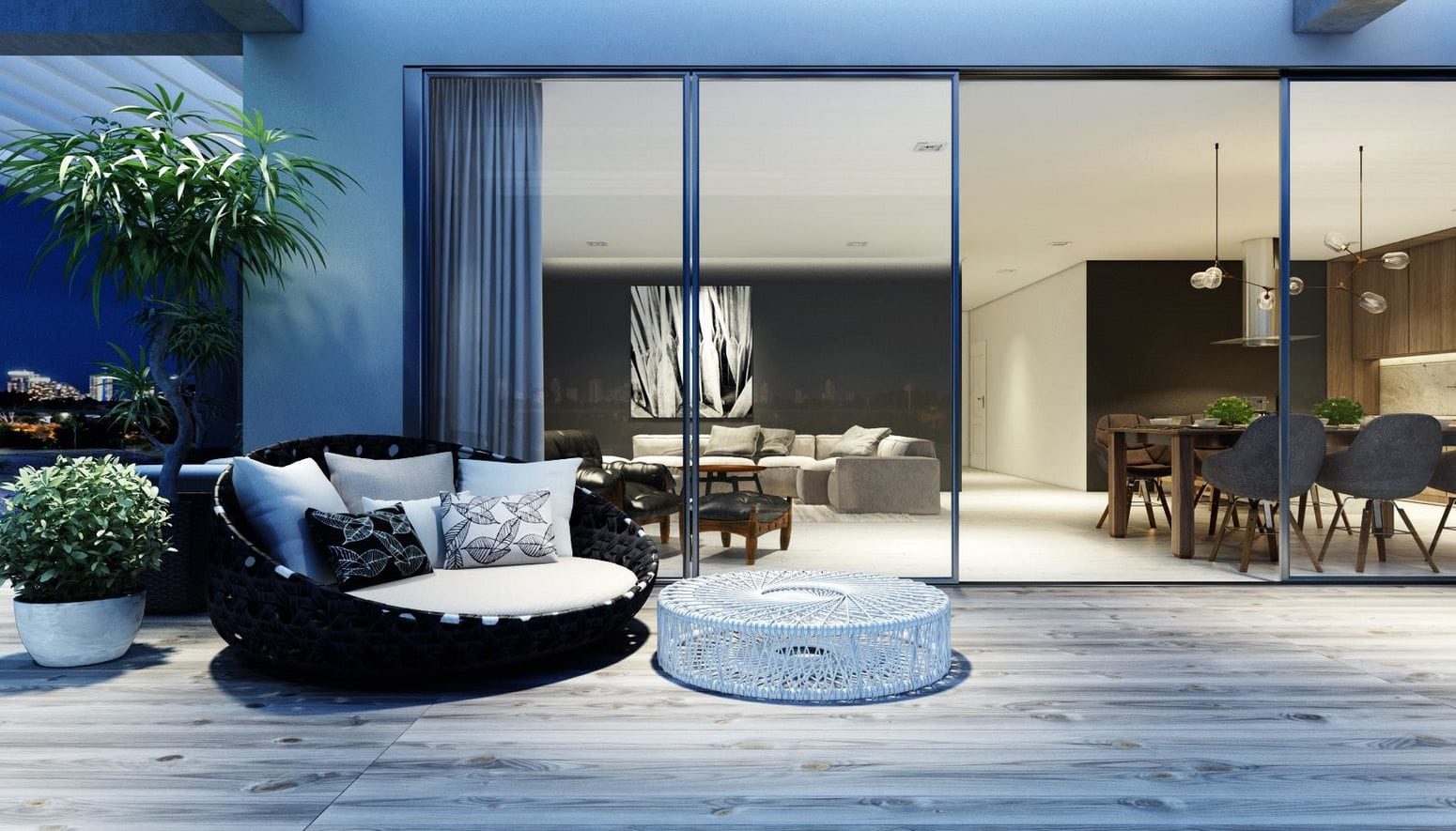 Perth 3d Rendering image in a dusk blue theme