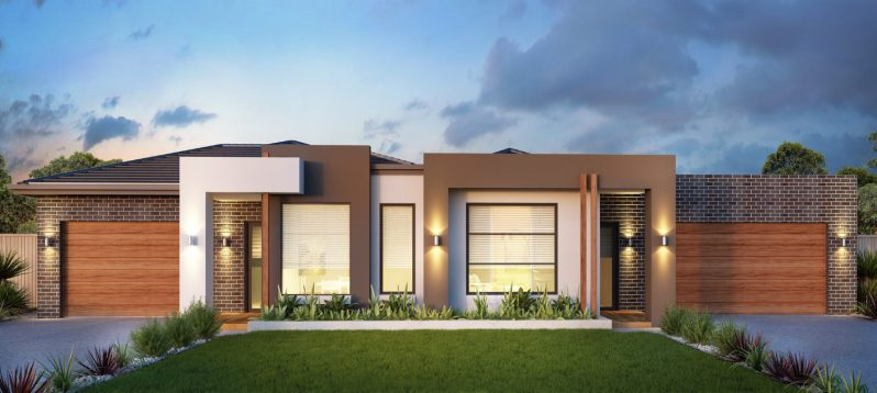 Lovely duplex house with nice colours 3D render