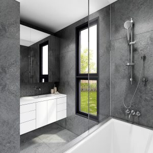 Amazing and classy bathroom 3D render on grey theme