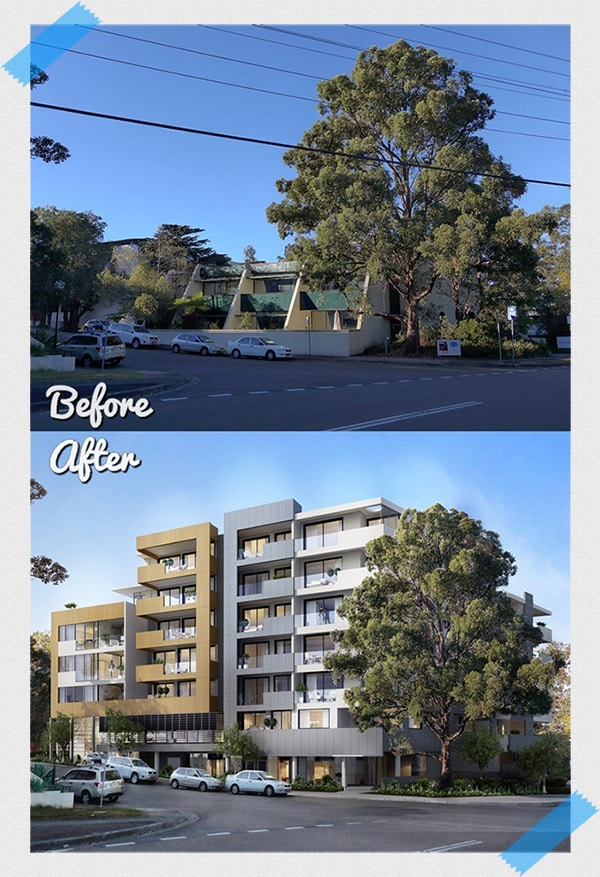 Photo Realistic 3d Render Before and After